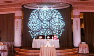 Pattern Leaves Gobo projected from Moving Heads at a Wedding
